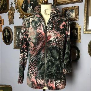 Thomas & Olivia Animal Print Velour Zip Jacket M